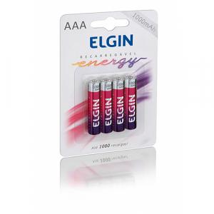 PILHA RECAR AAA 1,2V 1000MAH C/ 4 ELGIN