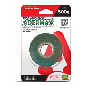 FITA DUPLA FACE ADERMAX 12MM X 2M BLISTER TRANSPARENTE ADERE